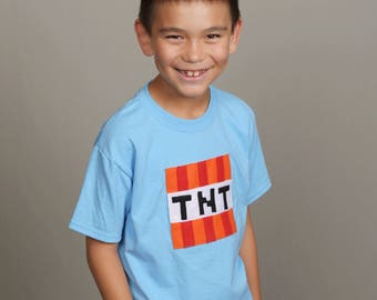 TNT - Minecraft Inspired - Kids Light Blue T-Shirt - Children's Clothing - Gift