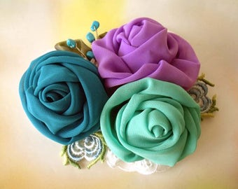 Fabric Brooch, Flower brooch, Fascinator, Boho corsage, Bridal corsage, Boho wedding, Pin fabric brooch, Chiffon flowers, Chiffon brooch