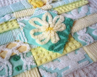 Vintage Chenille Aqua Green and Yellow Quilt Squares-Sweet