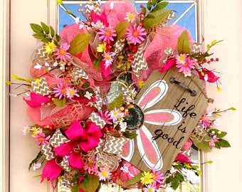 Life is Good Wreath with fun Hand Painted Wood Sign with Daisy and Florals on Deco Mesh Base with Burlap and Chevron Ribbon, Everyday Decor