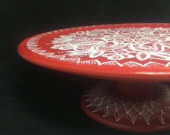 Scandinavian hand-painted lace design pedestal cake plate