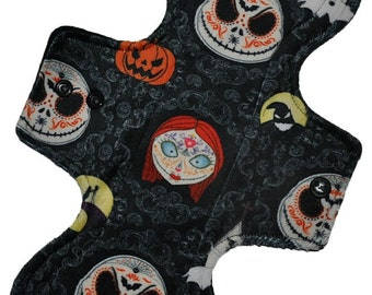 Moderate Hemp Core- Jack and Sally Minky Reusable Cloth Overnight Pad- WindPro Fleece- 10.5 Inches (26.5 cm)