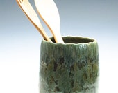 Golden Green Artichoke Spoon/Brush/Knitting Needles Caddy/Vase