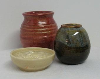 Glaze Testing Trio of Porcelain Pottery