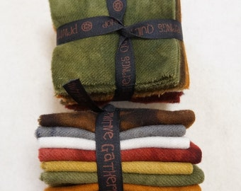 Brown Gold Green Red Orange Hand dyed felted wool in a range of tones - perfect rug hooking and applique wool Primitive Gatherings Wool