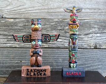 Pair of Vintage Alaskan Souvenir Totems