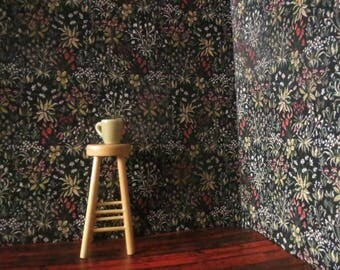1/12 Scale Downloadable Printable Dollhouse Flowery Tudor Tapestry Style Wallpaper