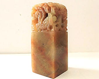 Chinese Golden Stone Chop Stamp Hand Carved 2.5 in.H