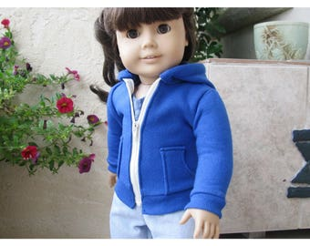 Hoodie for 18 Inch Dolls, Royal Blue Fleece, Zips