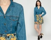 Sunflower Dress Floral Denim 90s Mini Jean Grunge Vintage 1990s Button Up High Waist Blue Yellow Ditsy Revival Long Sleeve Large