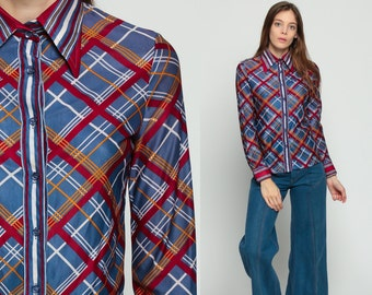 70s Shirt Plaid Blouse Nerd Collared Blouse Checkered Print Top Button Up Blue Red Retro Vintage Long Sleeve Extra Small xs