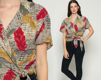 Wrap Blouse 80s Boho Shirt FEATHER PRINT Shirt Hippie Tribal V Neck Short Sleeve 1980s Bohemian Vintage Grunge Red Large