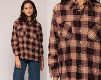 90s Plaid Shirt Oversized Flannel Shirt Tan Grunge Button Up 1990s Lumberjack Checkered Brown Vintage Men Oversize Long Sleeve Medium
