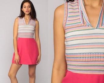 60s Mini Dress Mod Hot Pink Stripe 1960s Gogo High Waist Sheath Vintage Sixties Twiggy Go go Sleeveless MiniDress V Neck Small Medium