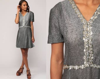 Silver Dress 60s Mini Dress Mod Party METALLIC SEQUIN 70s High Waist Vintage Gogo Sixties Short Sleeve Formal Medium