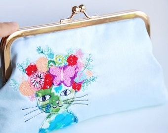 Cat with flowers Clutch Bag Free Motion Embroidery(Cosmetic Case, Makeup Pouch, Travel Bag, Bag Belt)