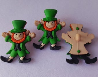 3 x LEPRECHAUNS St Patricks Day Lucky Irish Ireland Dress It Up Craft Buttons