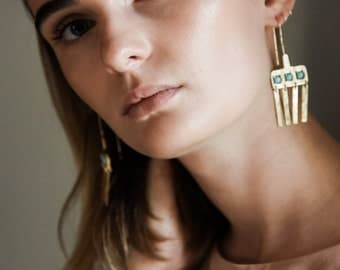 Vessel Earrings- Sterling Silver Bronze Gold fill turquoise black onyx hinge chime earrings