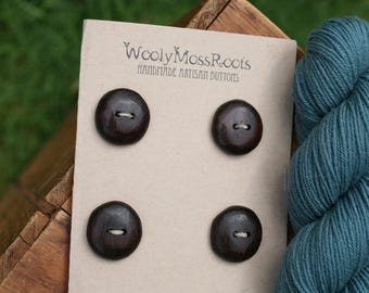 4 Black Walnut Wood Buttons- Black Walnut Wood- Wooden Buttons- Eco Craft Supplies, Eco Knitting Supplies, Eco Sewing Supplies