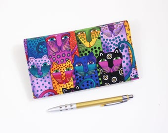 Cats Checkbook Cover, Duplicate Checkbook, Pen Holder, Laurel Burch Cats Cotton Fabric, Cheque Book Cover