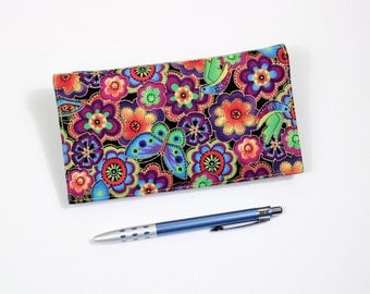 Floral Checkbook Cover, Duplicate Checkbook, Pen Holder, Laurel Burch Cotton Fabric, Cheque Book Cover