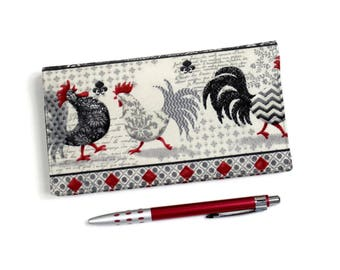 Chickens Checkbook Cover, Gray and Red Roosters Duplicate Checkbook, Check Book with Pen Holder, Cotton Cheque Book Cover