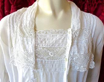 1915 Edwardian Antique White Muslin Irish Crochet & Filet Lace Blouse 34 Bust