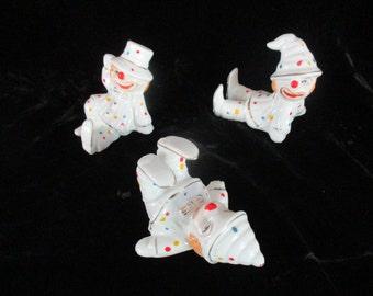 Three Happy Tumbling Clown Figurines Marked Taiwan Beautiful Nice Happy Ceramic  Vintage Set
