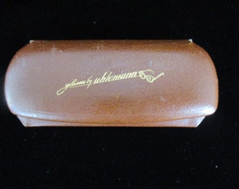 Antique  Uhlemann Eyeglasses  Leather  Hard Case  with Snap on SUN Eyeglasses