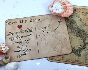 Destination Save the Date Postcard Set of 75 with Vintage Envelope / Customized Map Location/ Vintage Travel Wedding Postcard Keep the Date