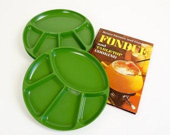 Vintage 1960s Japan Avocado Green Thick Melamine Fondue Plates NOS Set of 4 / Mid Century Fondue Party