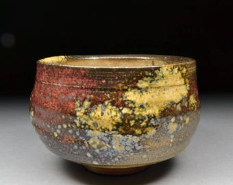 Extraordinary Handmade Matcha Chawan Teabowl Tea Ceremony Glazed with Carbon Trap Shino, Wood Ash, Rutile and Copper