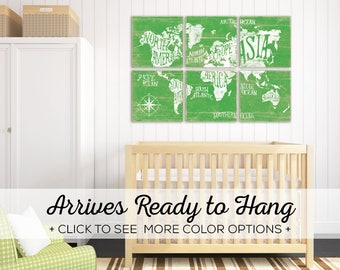 Browse our Colorful Maps of the World - Perfect for Kids Room Wall Art and Nursery Decor