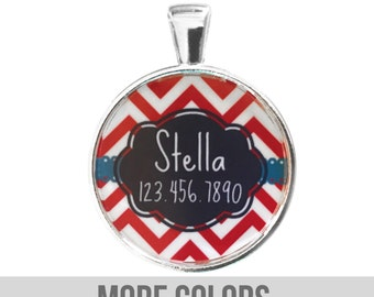 Chevron Stripes Personalized Dog ID Pet Tag Custom Pet Tag You Choose Tag Size & Colors (Red Color)