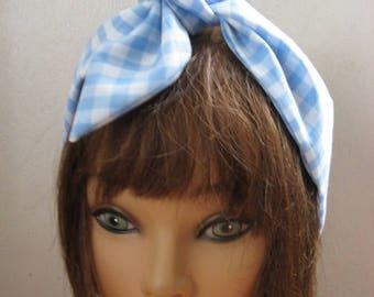 HairBandana, Boho, Blue Gingham, Headband, Hair Accessories, Hair Scarf, Teen Women Hair Band,VeryCuteHairBand  # 108