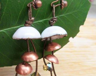 Lyrical earrings with enamel and copper bells: Purple Roads ....