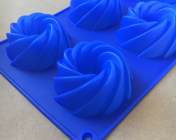 FRENCH CRULLER Soap Mold, Silicone, 6- 2.7 oz cavities