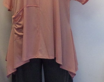 Plus Size Tunic, Lagenlook, Womens Plus Size Top, Cold Shoulder Polyester Knit Angled Tunic Top Shell Pink One Size Bust  to 58 inches