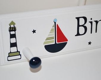"18"" Peg Rack . Personalized Coat Rack . Nautical with Lighthouses . Navy Red Green"