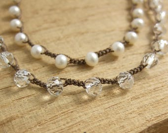 Multi-Stranded Crocheted Necklace with Brown Cord, Pearls and Clear Crystal Beads SN-260