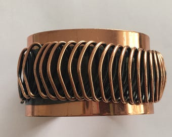 Vintage Copper Coil Cuff Bracelet Arts & Crafts