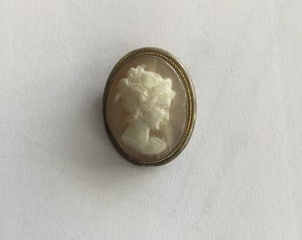 Vintage Shell Carved Cameo Bust of Woman Pin