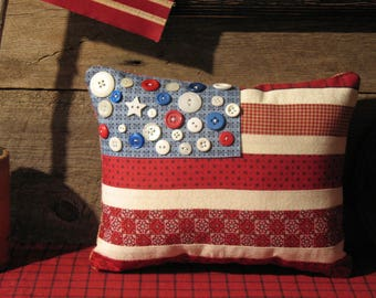 Americana Red White and Blue Pillow, Stripes and Stars, Summer