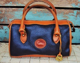Vintage Dooney and Bourke Purse Hand Bag Leather handbag Brown and Navy Doctors Bag STyle All Weather Leather Genuine Namebrand Authentic