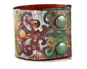 Leather Cuff For Women - Handmade Jewelry Folk Ethnic Cuff Bracelet - Unique Leather Art