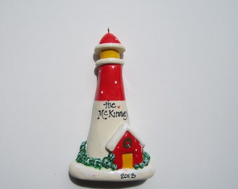 Personalized Lighthouse Christmas Ornament/ lighthouse/ christmas/ nautical