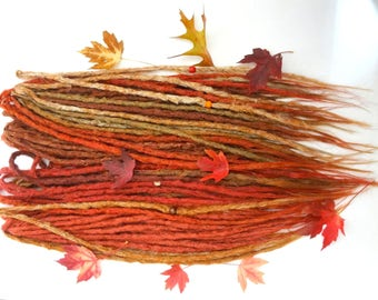 Autumn Leaf knotty dread extensions. Full kit 40 Double Ended dreads. Long 16-20 inches. Ready to Ship.High quality dreadlock extensions