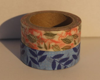 Set of 2 Washi Tape Blue Leaves and Orange and Green Leaves Designs