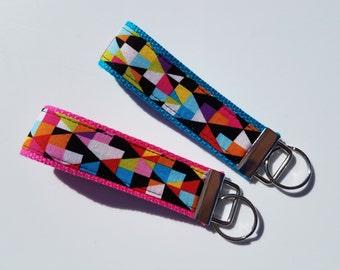 Geometric Prism Key Fob Wristlet Keychain