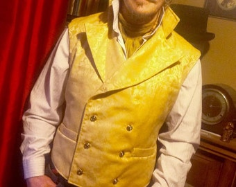"""Steampunk Classic Sweeny Todd  Gold  Brocade  Waistcoat 40"""" - 45"""" Chest."""